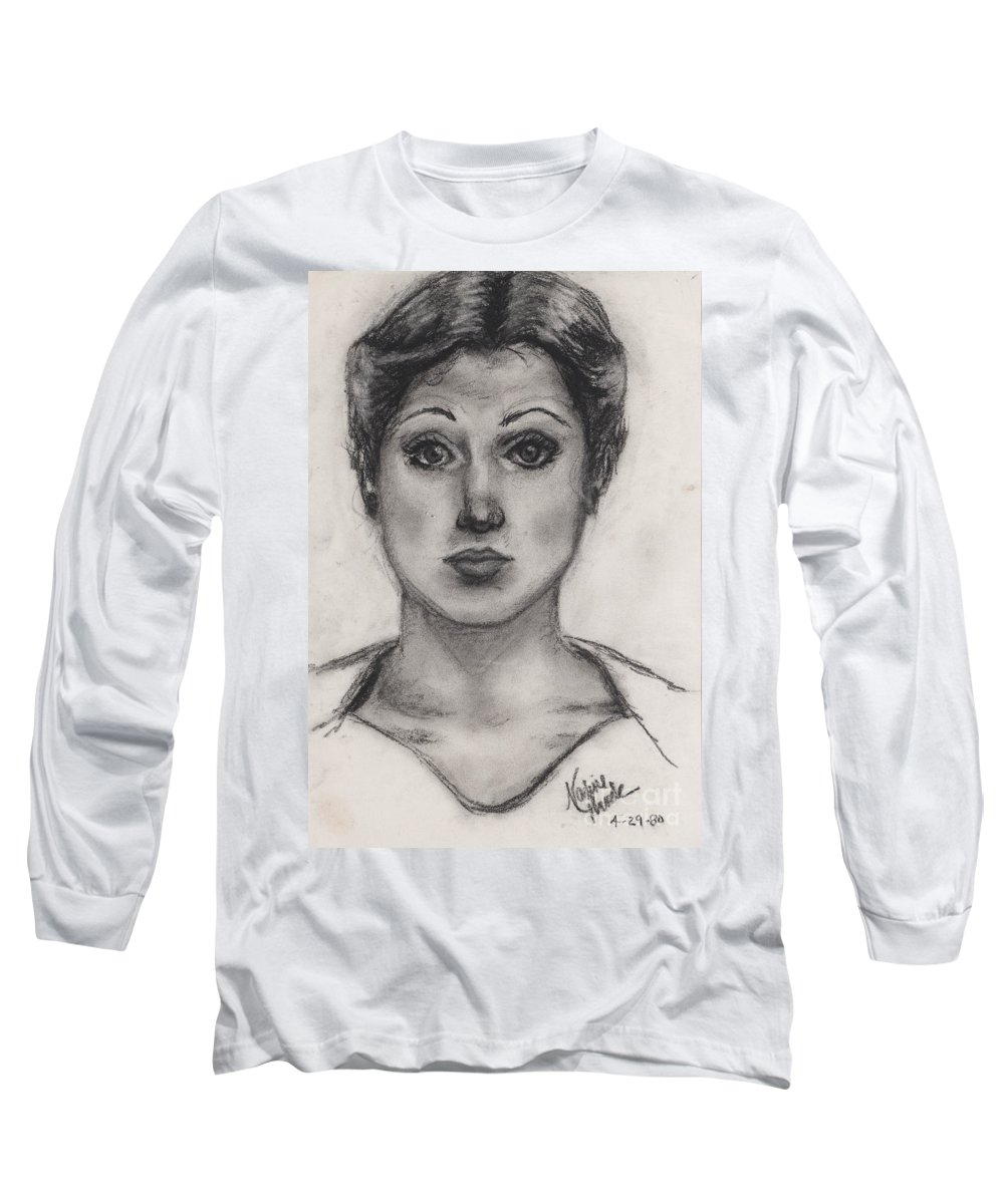 Nadine Long Sleeve T-Shirt featuring the drawing Self Portrait At Age 18 by Nadine Rippelmeyer