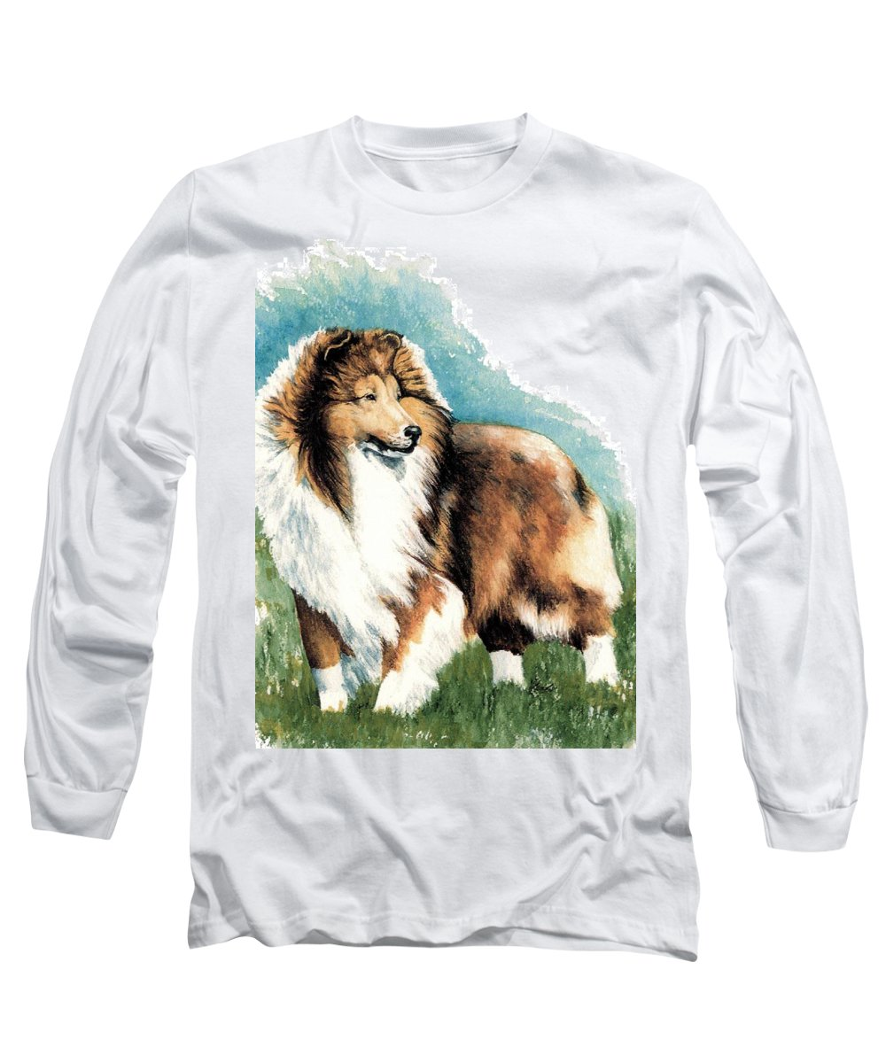 Shetland Sheepdog Long Sleeve T-Shirt featuring the painting Sheltie Watch by Kathleen Sepulveda