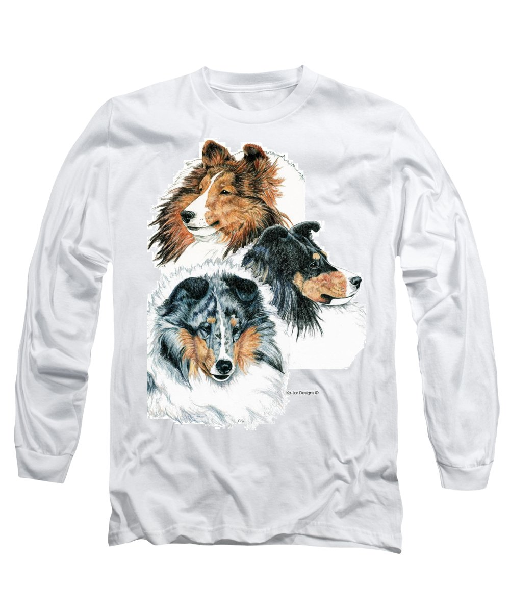 Shetland Sheepdog Long Sleeve T-Shirt featuring the drawing Shetland Sheepdogs by Kathleen Sepulveda