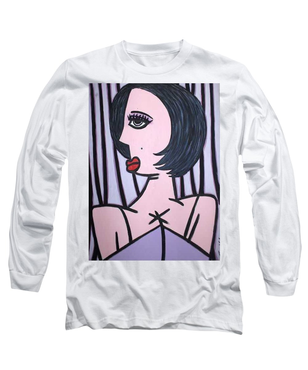 Potrait Long Sleeve T-Shirt featuring the painting Show Girl by Thomas Valentine