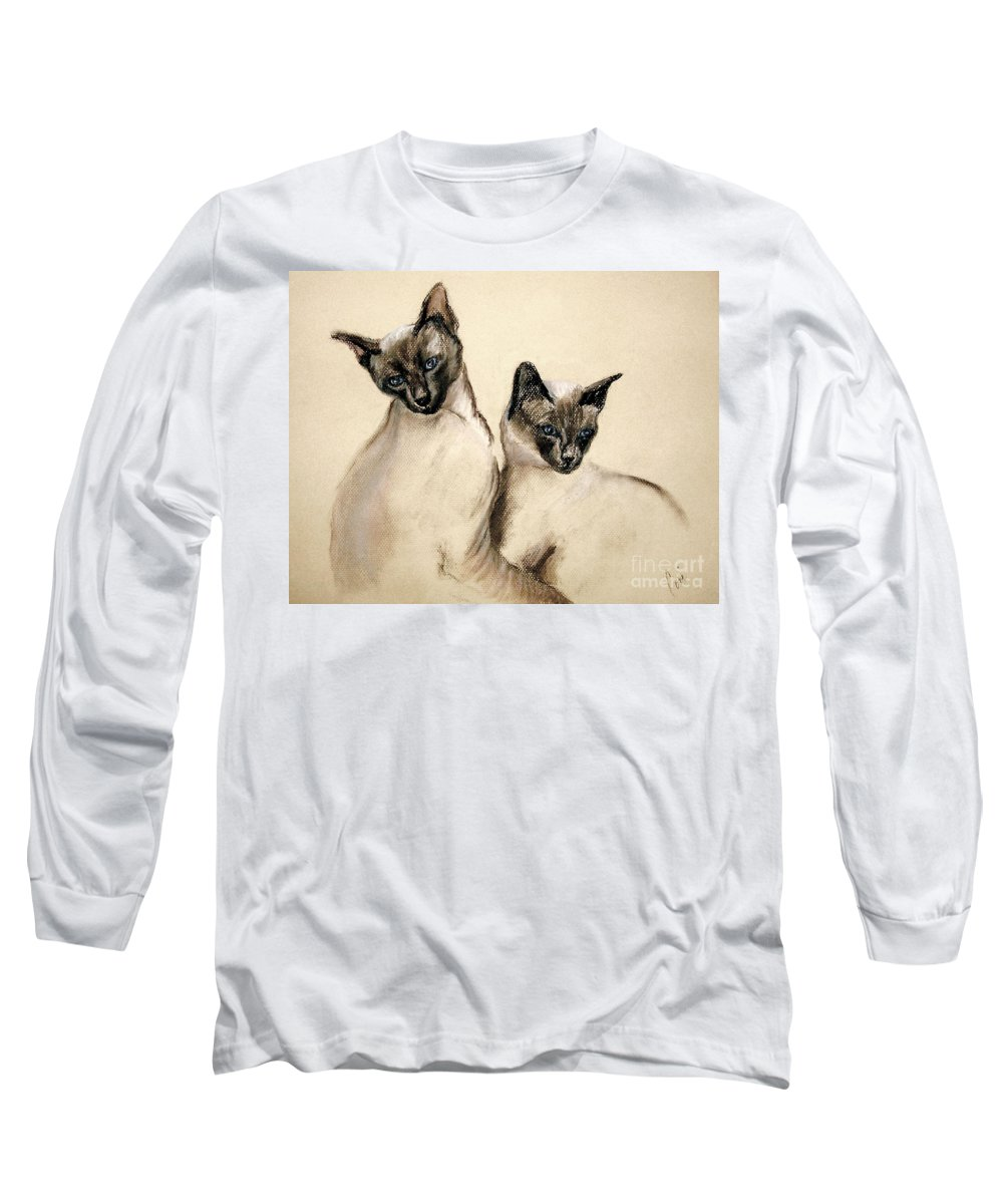 Cat Long Sleeve T-Shirt featuring the drawing Sibling Love by Cori Solomon