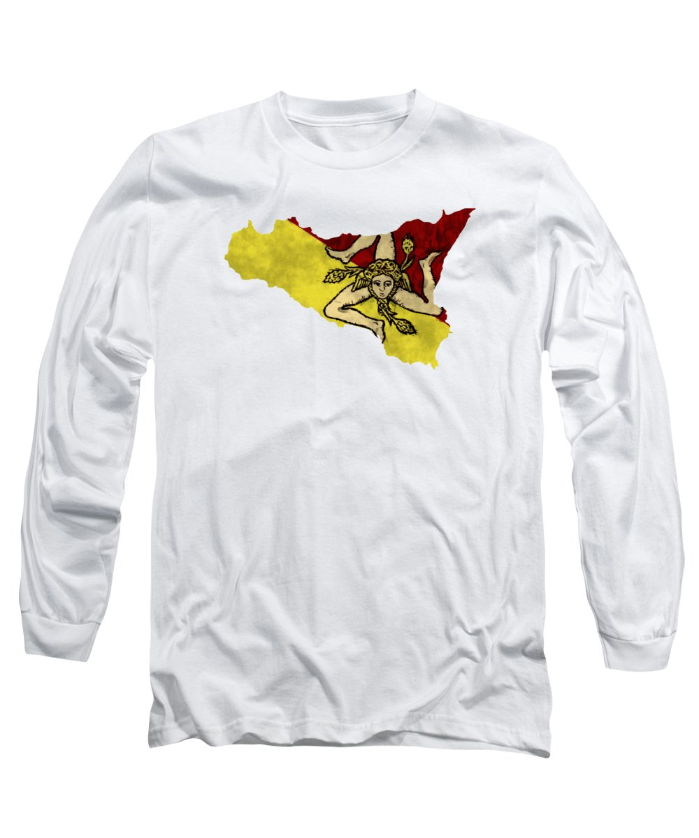 Atlas Long Sleeve T-Shirt featuring the digital art Sicily Map Art With Flag Design by World Art Prints And Designs