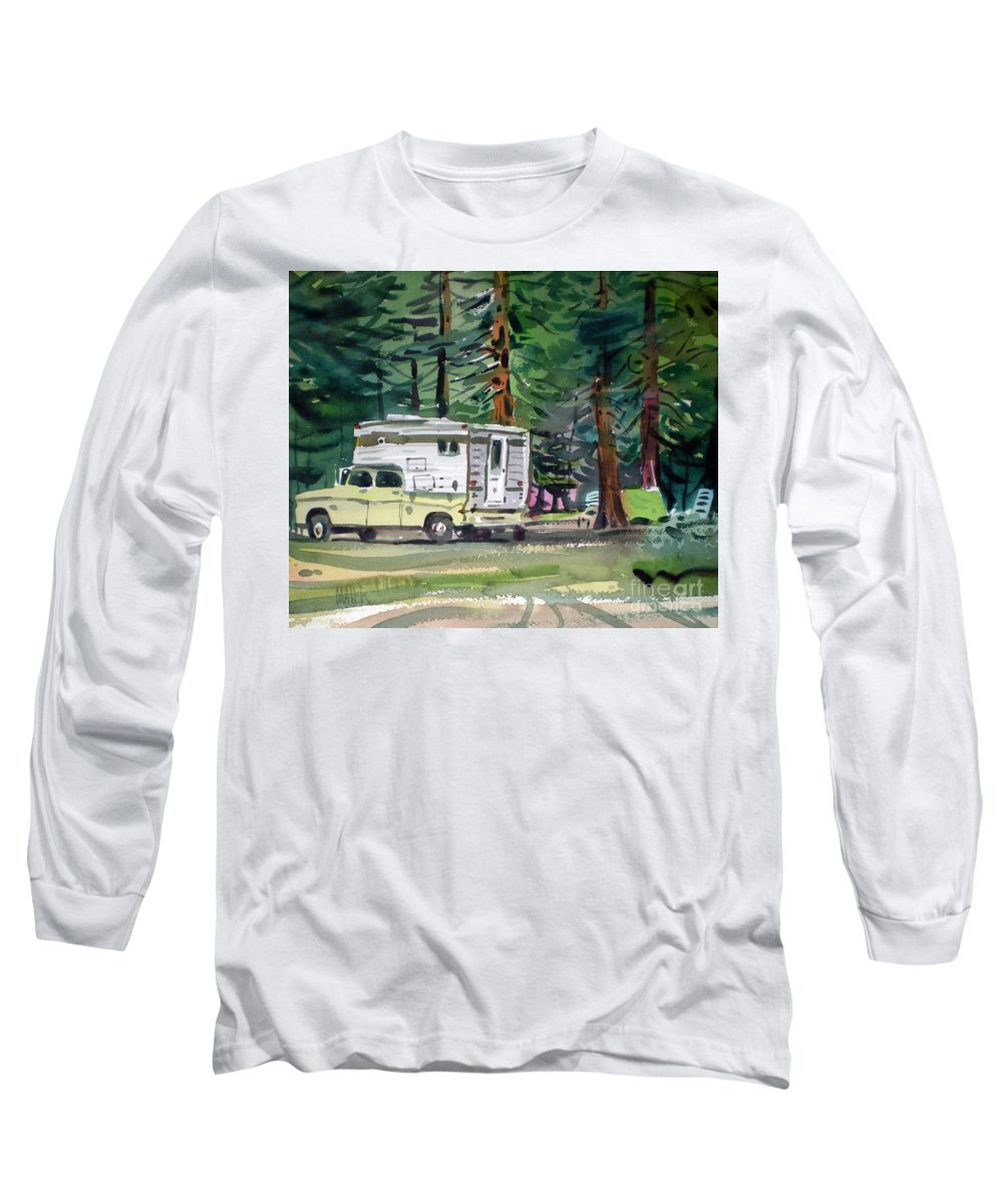 Camping Long Sleeve T-Shirt featuring the painting Sierra Campsite by Donald Maier