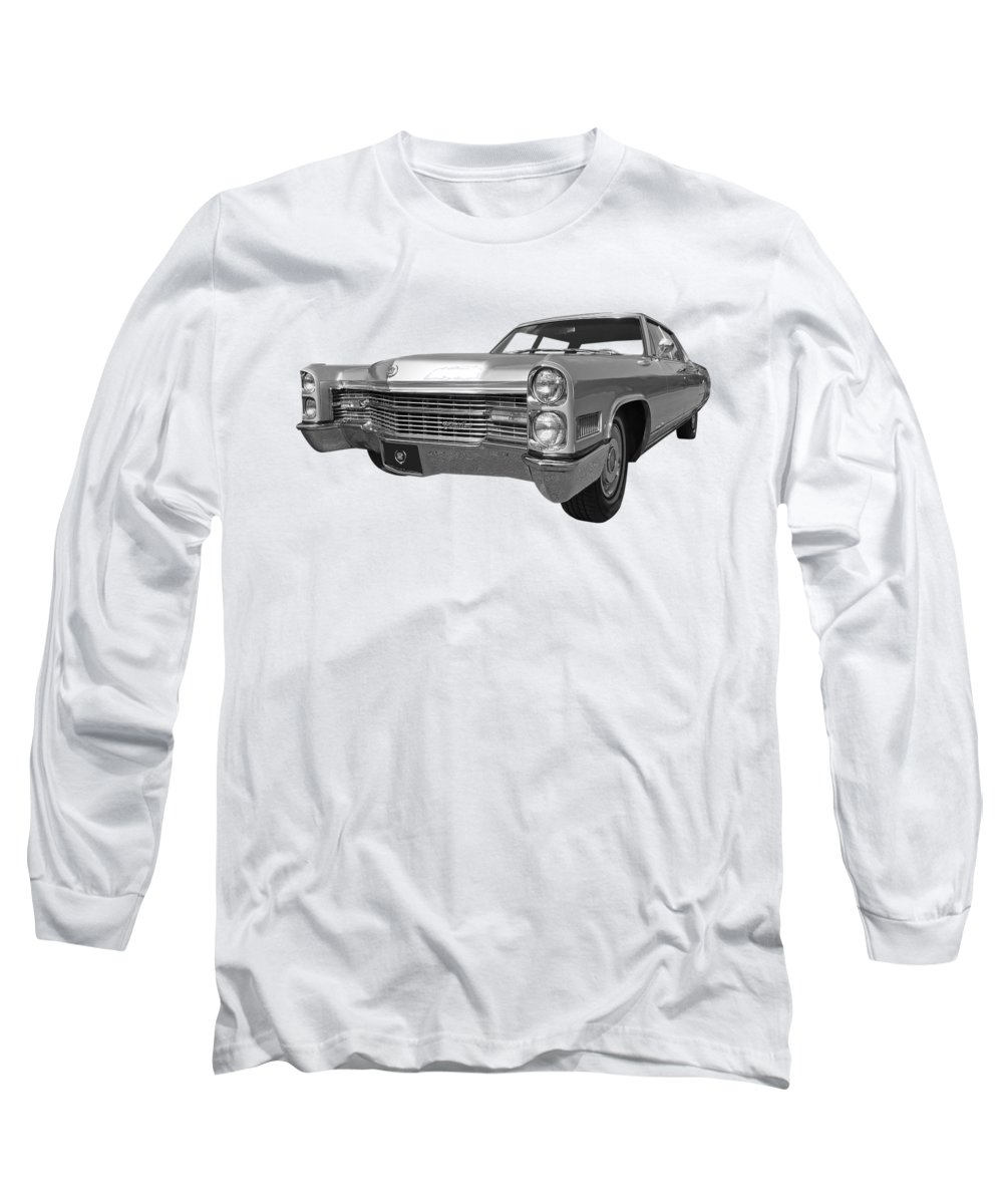 Cadillac Long Sleeve T-Shirt featuring the photograph Silver Cadillac 1966 by Gill Billington