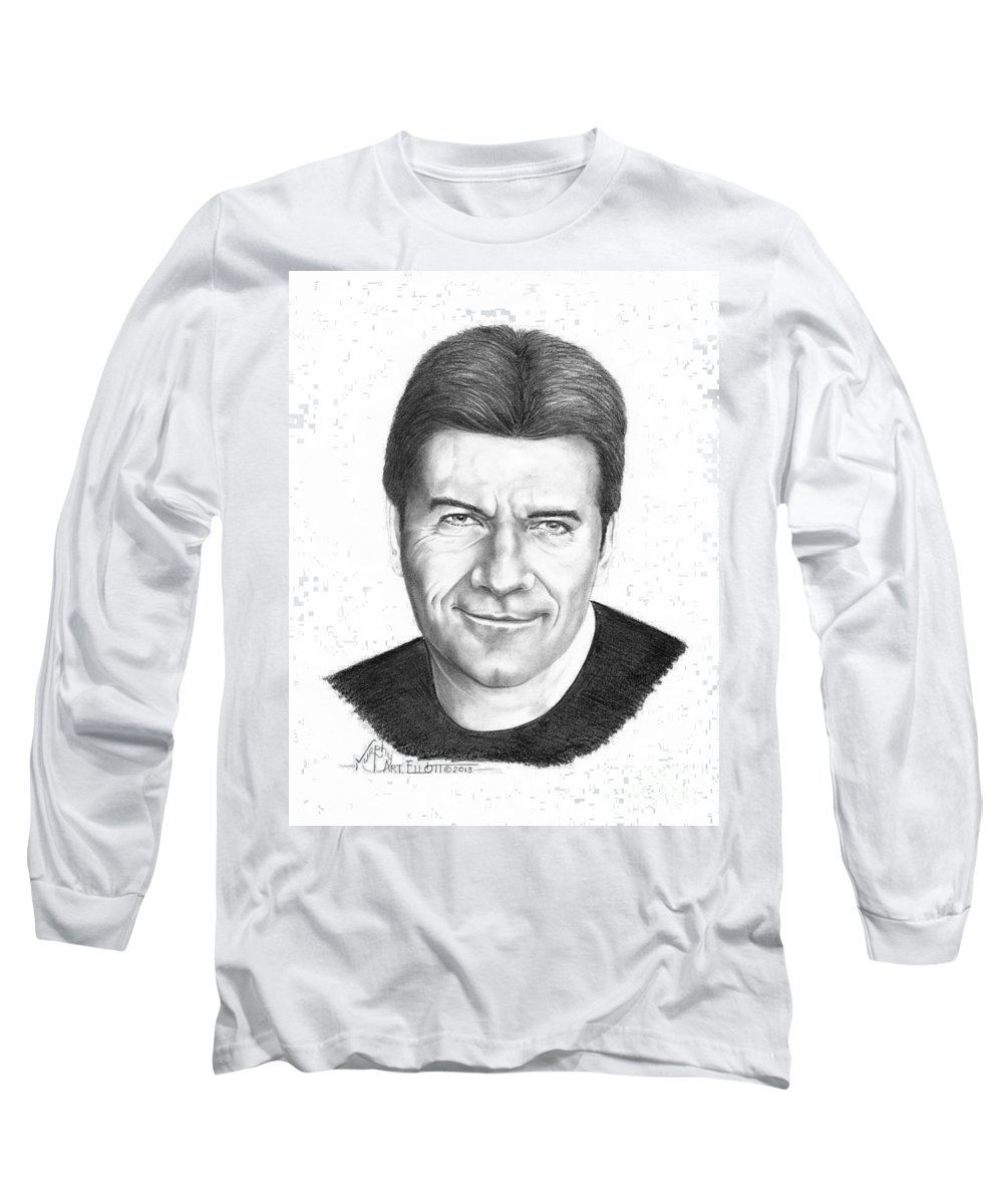 Portrait Long Sleeve T-Shirt featuring the drawing Simon Cowell by Murphy Elliott