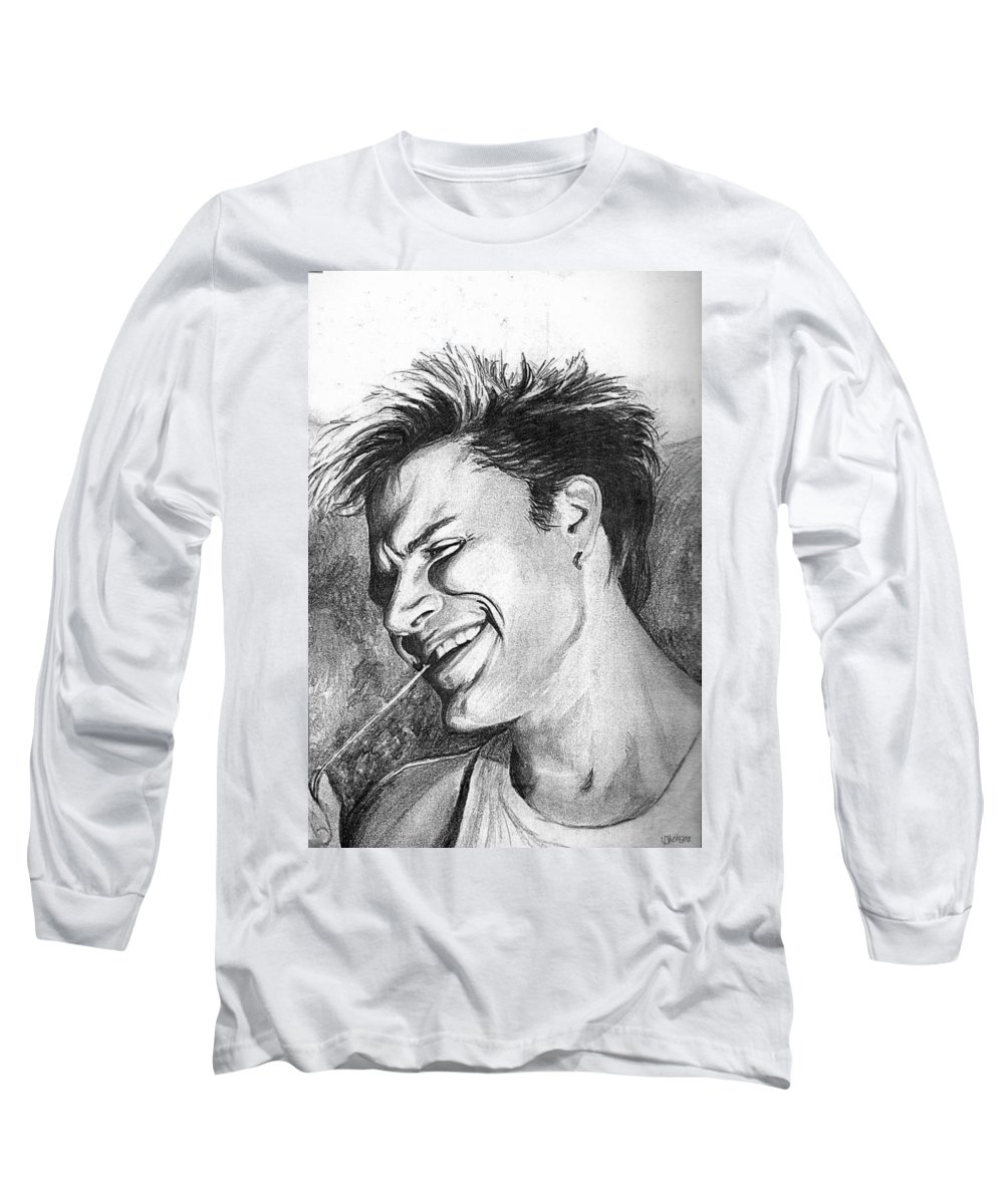 Simon Man Face Portrait Young Fresh Smile Long Sleeve T-Shirt featuring the drawing Simon by Veronica Jackson