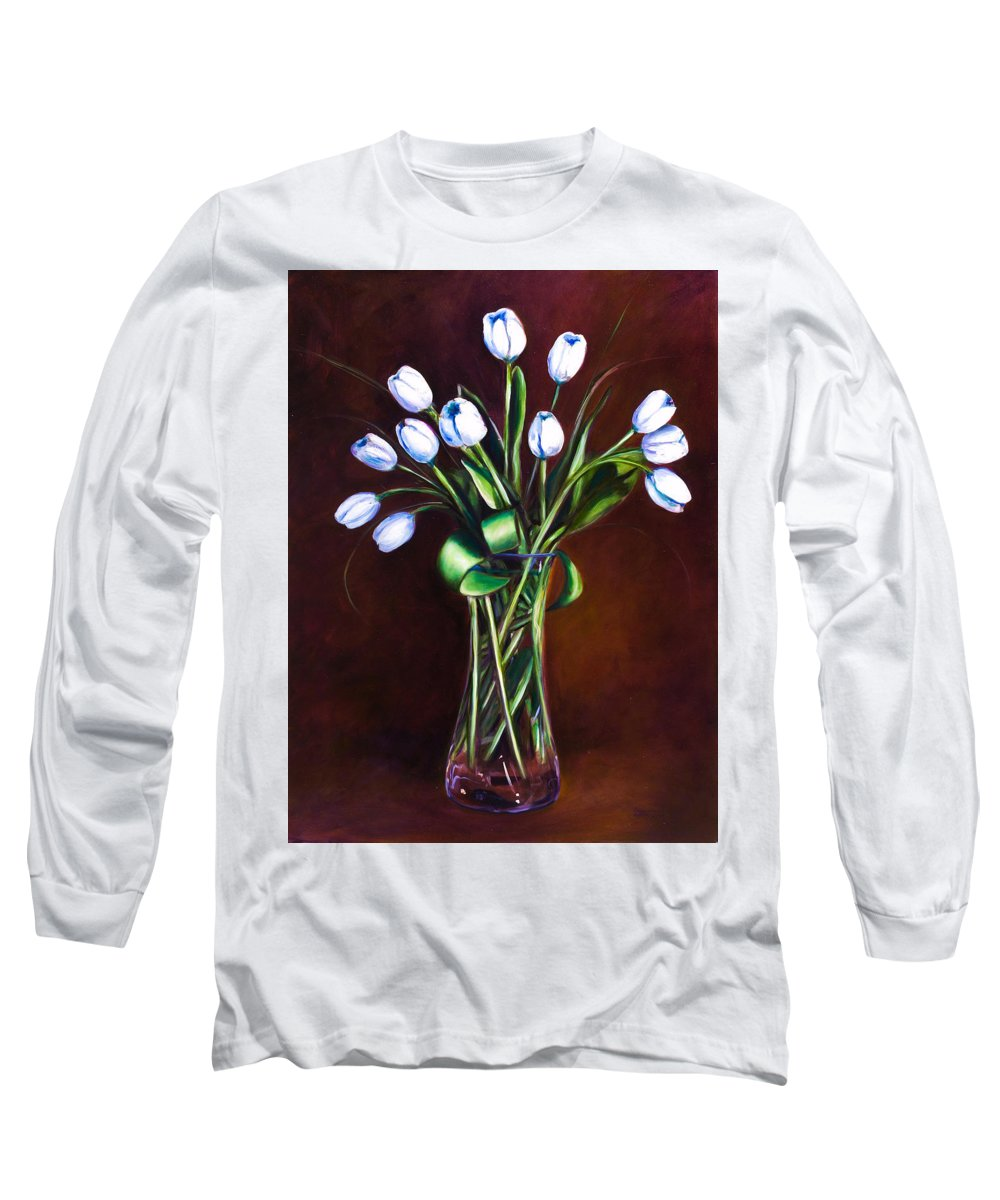 Shannon Grissom Long Sleeve T-Shirt featuring the painting Simply Tulips by Shannon Grissom