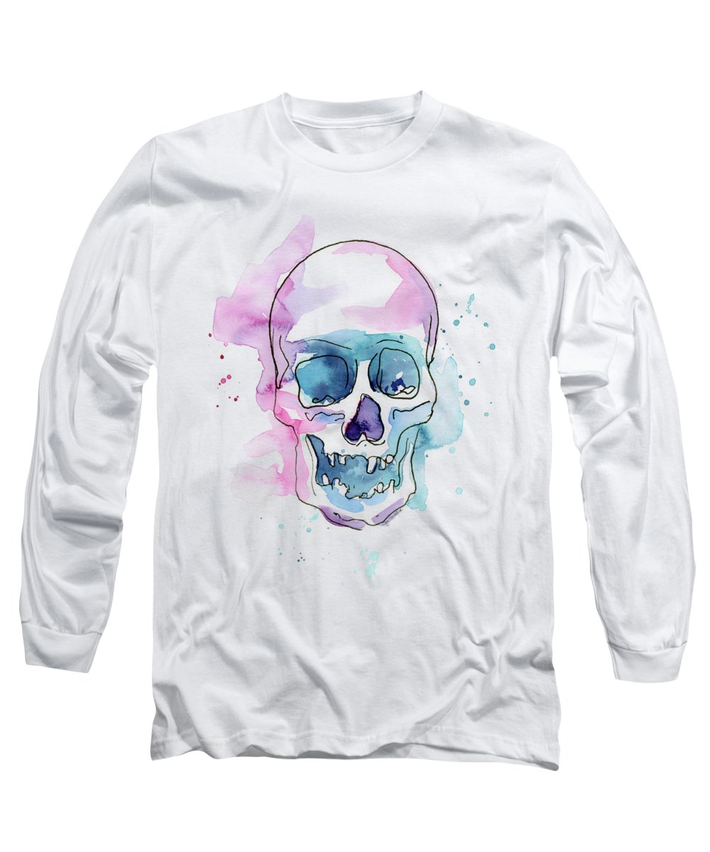 Skull Long Sleeve T-Shirt featuring the painting Skull Watercolor Abstract by Olga Shvartsur