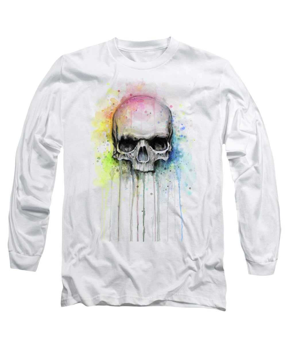 Skull Long Sleeve T-Shirt featuring the painting Skull Watercolor Rainbow by Olga Shvartsur