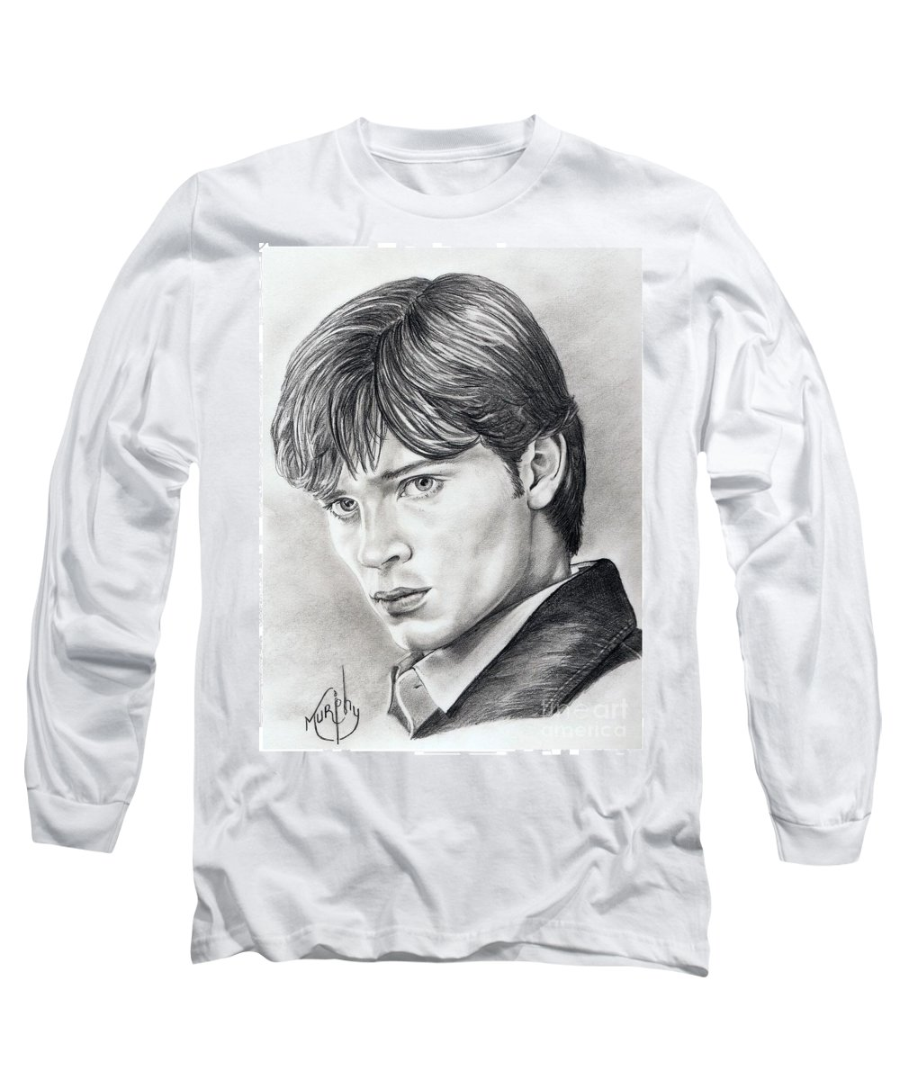 Superman Long Sleeve T-Shirt featuring the drawing Smallville Tom Welling by Murphy Elliott