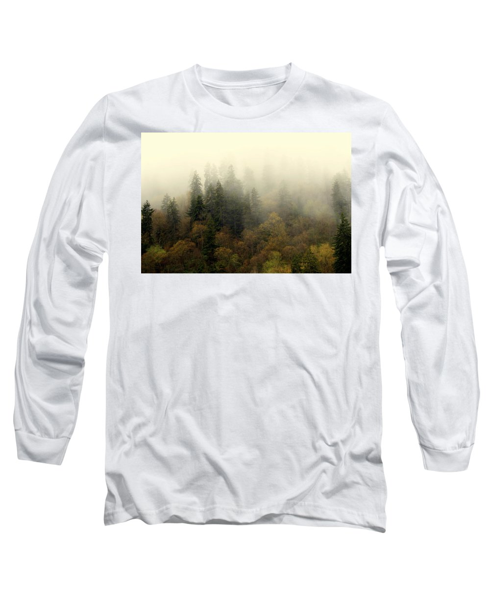 Fog Long Sleeve T-Shirt featuring the photograph Smoky Mount Horizontal by Marty Koch