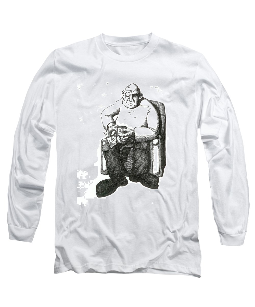 Buddha Long Sleeve T-Shirt featuring the drawing Snacks by Tobey Anderson