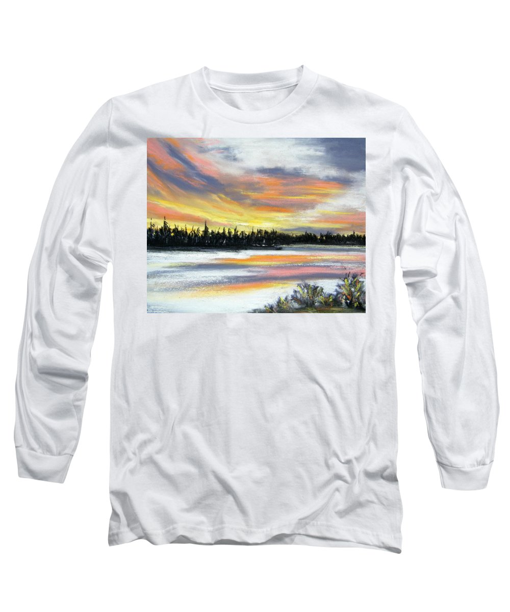 Sunset Long Sleeve T-Shirt featuring the pastel Snake River Sunset by Gale Cochran-Smith