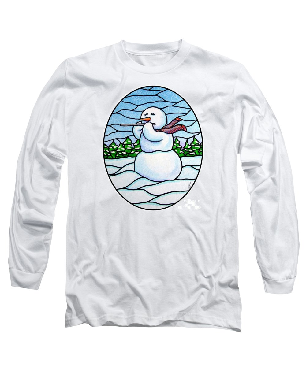 Snow Long Sleeve T-Shirt featuring the painting Snowman Flutist by Jim Harris