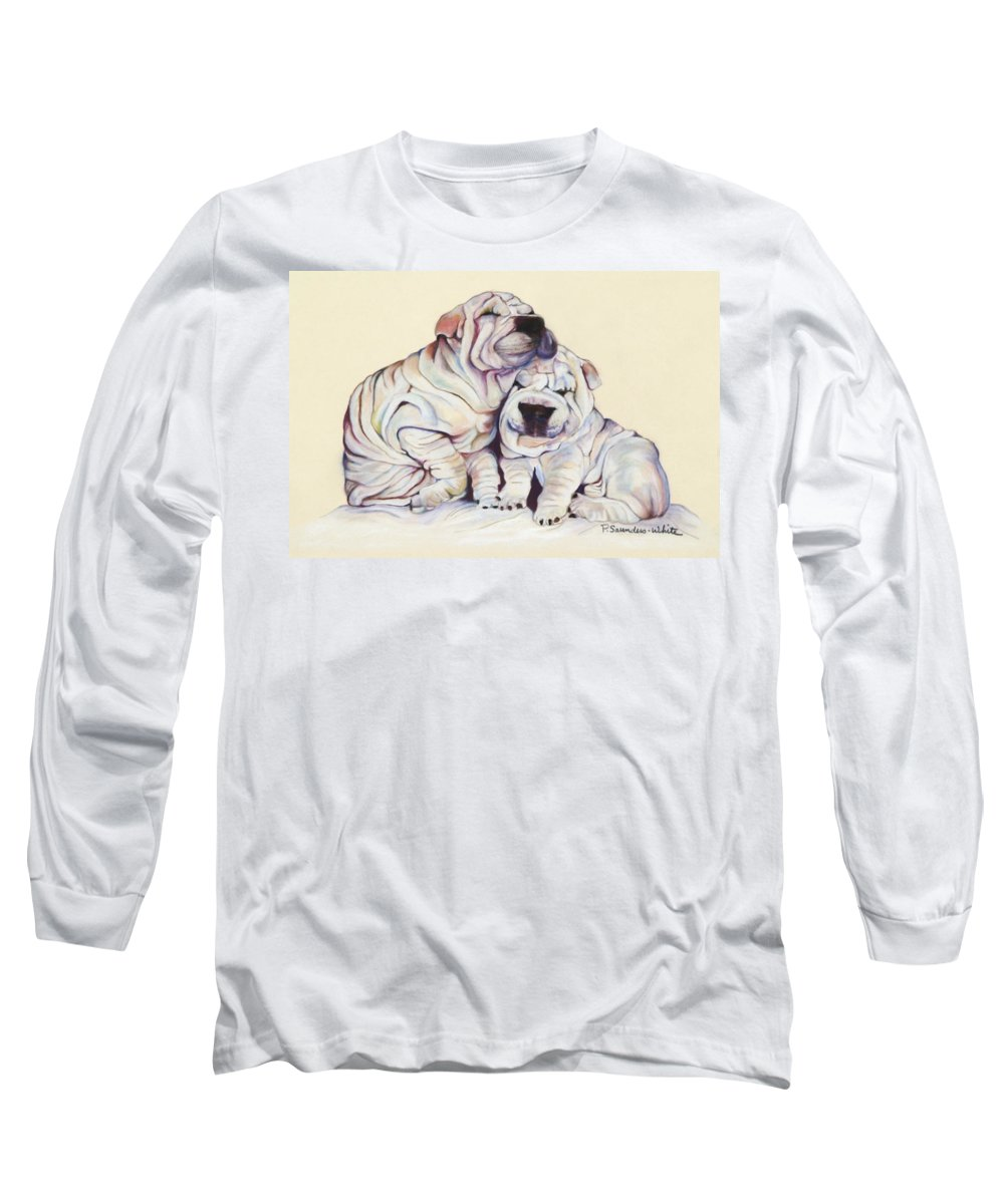 Dog Painting Long Sleeve T-Shirt featuring the pastel Snuggles by Pat Saunders-White