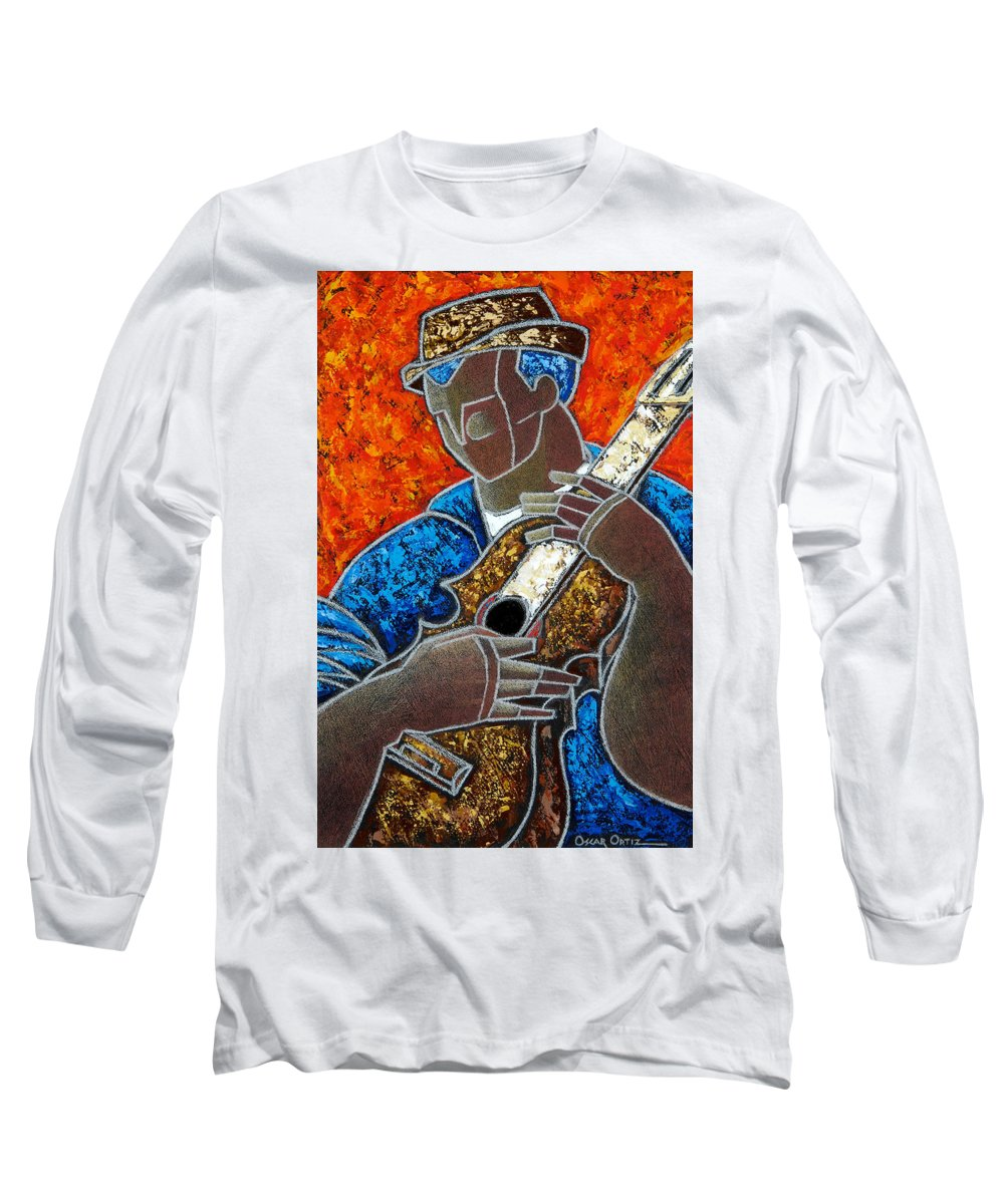 Puerto Rico Long Sleeve T-Shirt featuring the painting Solo De Cuatro by Oscar Ortiz