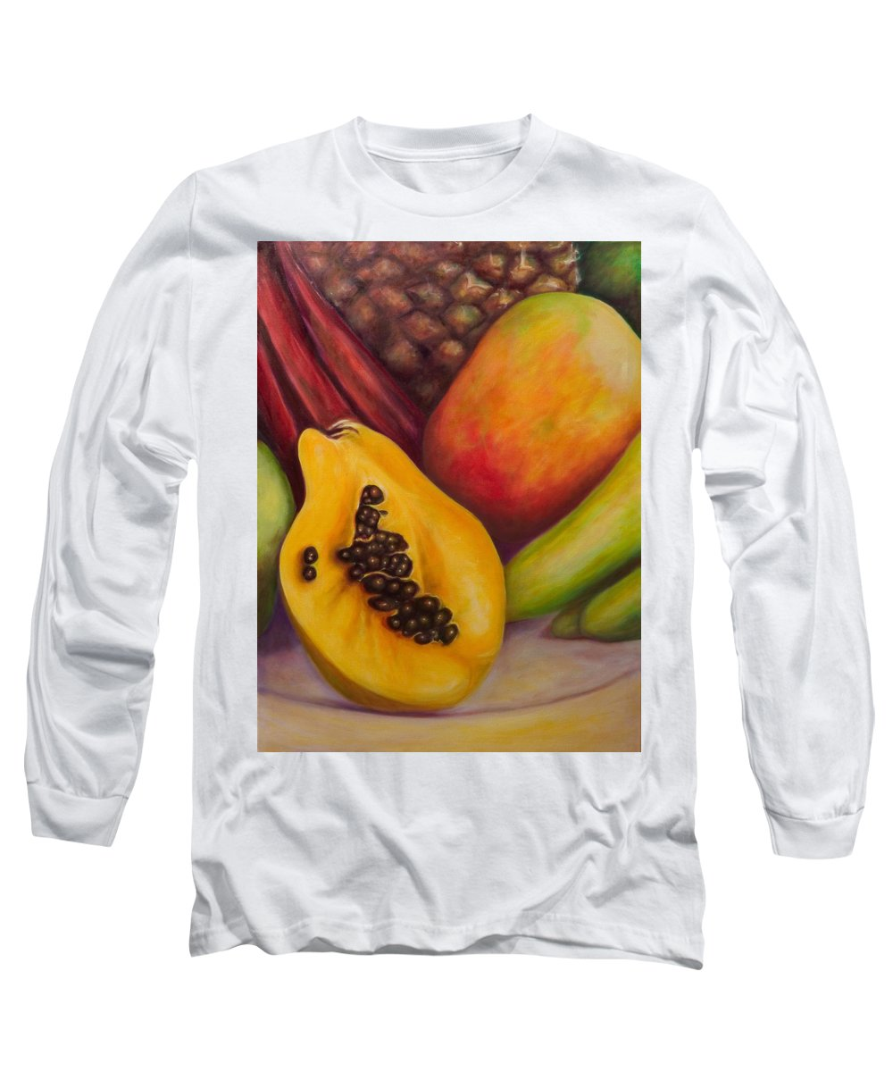 Tropical Fruit Still Life: Mangoes Long Sleeve T-Shirt featuring the painting Solo by Shannon Grissom