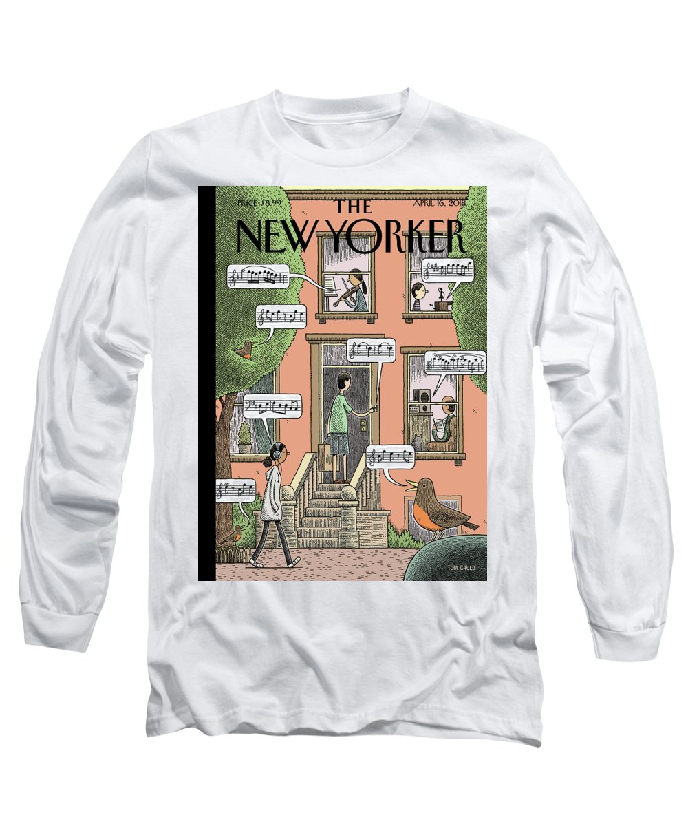 Soundtrack To Spring Long Sleeve T-Shirt featuring the painting Soundtrack to Spring by Tom Gauld