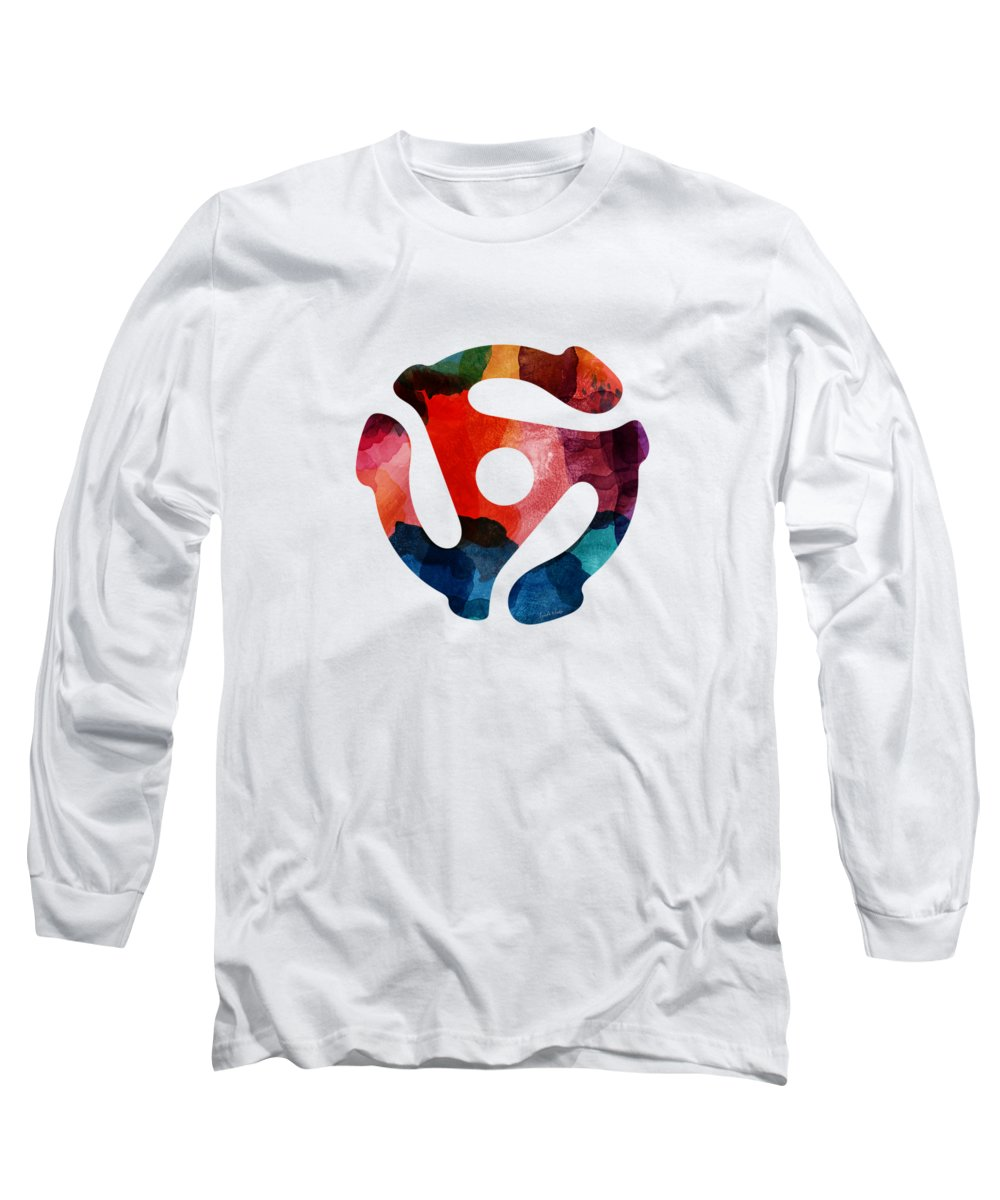 Music Long Sleeve T-Shirt featuring the painting Spinning 45- Art By Linda Woods by Linda Woods