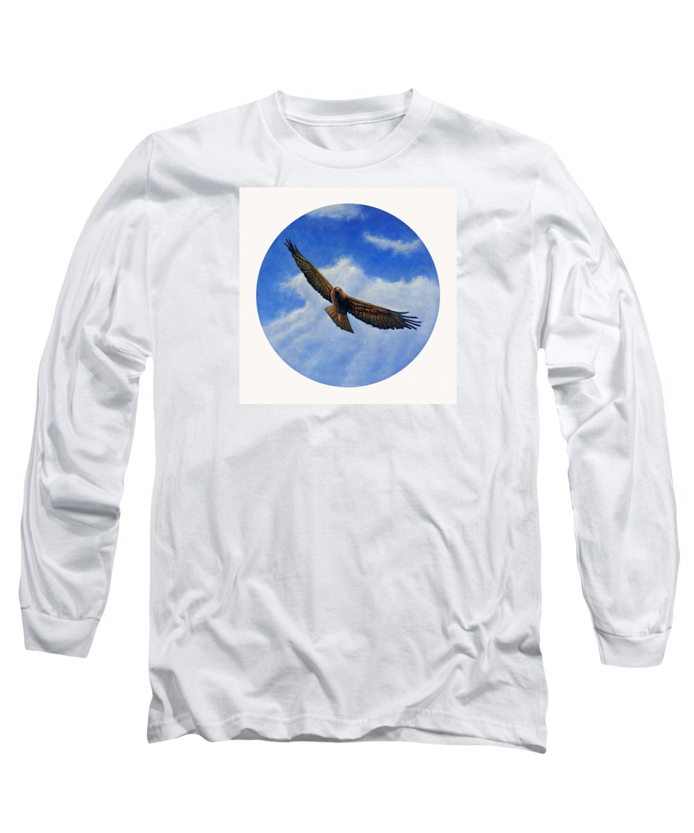 Hawk Long Sleeve T-Shirt featuring the painting Spirit In The Wind by Brian Commerford