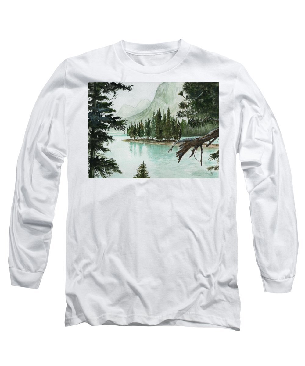 Landscape Long Sleeve T-Shirt featuring the painting Spirit Lake by Brenda Owen