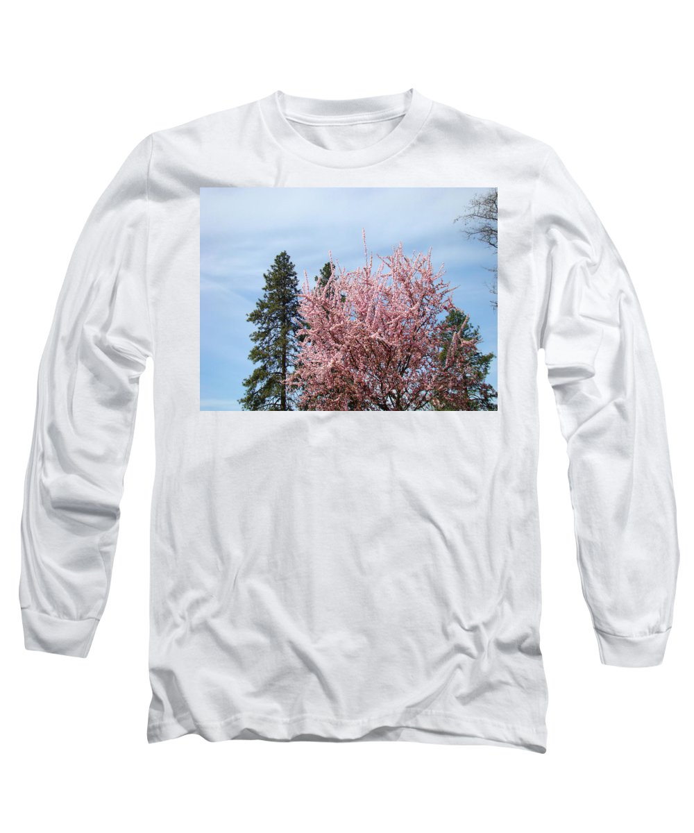 Trees Long Sleeve T-Shirt featuring the photograph Spring Trees Bossoming Landscape Art Prints Pink Blossoms Clouds Sky by Baslee Troutman