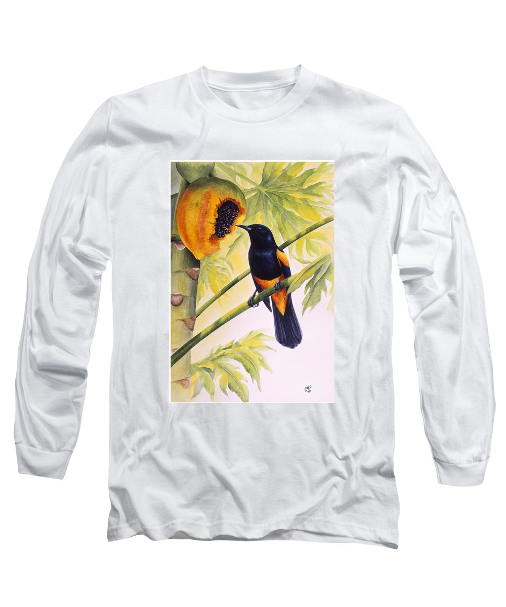 Chris Cox Long Sleeve T-Shirt featuring the painting St. Lucia Oriole And Papaya by Christopher Cox