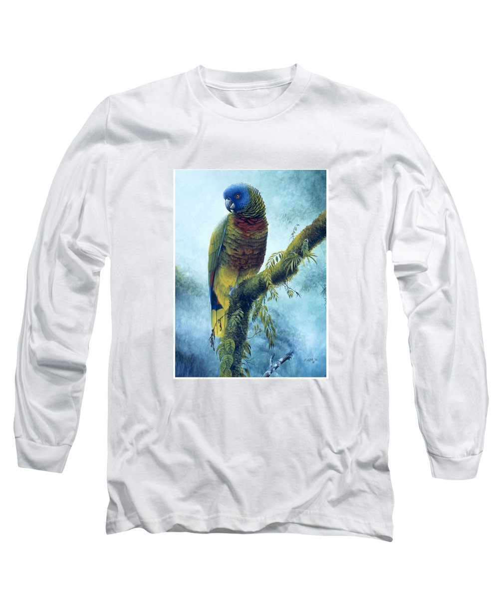 Chris Cox Long Sleeve T-Shirt featuring the painting St. Lucia Parrot - Majestic by Christopher Cox
