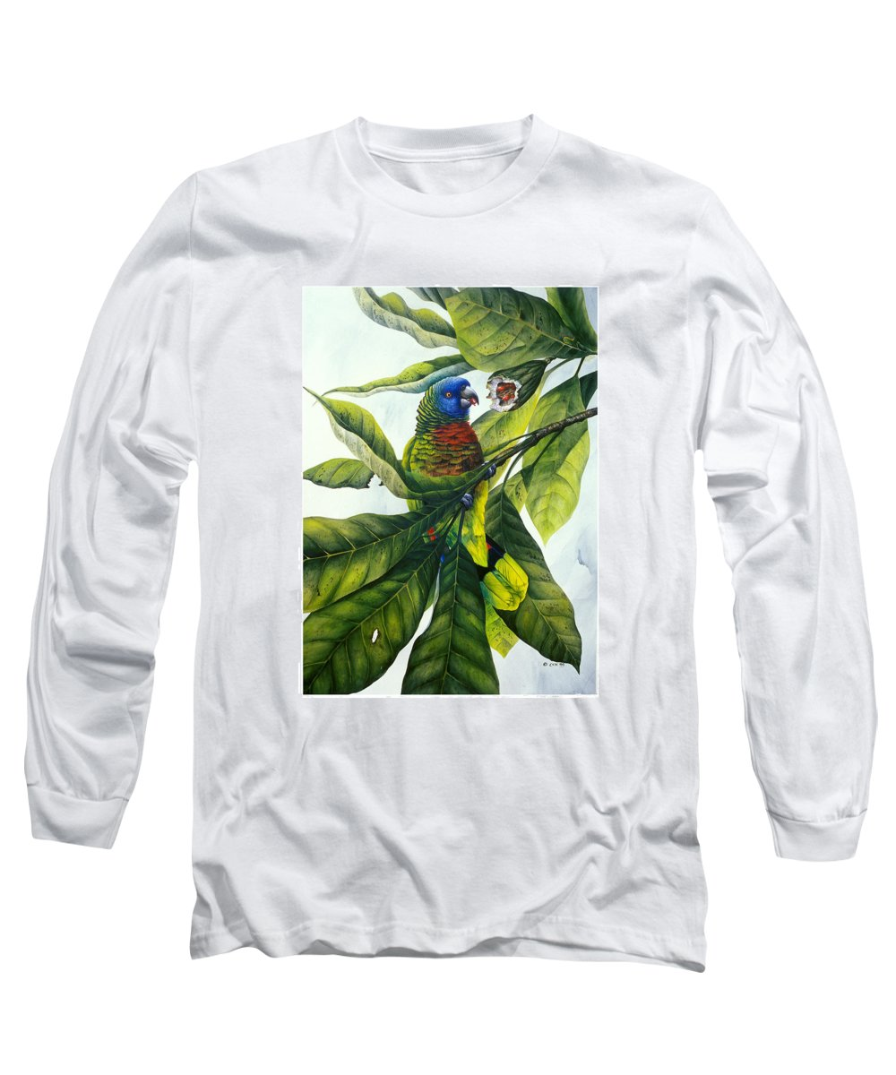 Chris Cox Long Sleeve T-Shirt featuring the painting St. Lucia Parrot And Fruit by Christopher Cox