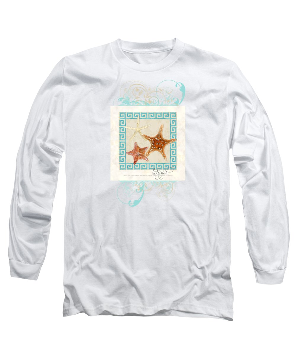 White Finger Starfish Long Sleeve T-Shirt featuring the painting Starfish Greek Key Pattern W Swirls by Audrey Jeanne Roberts