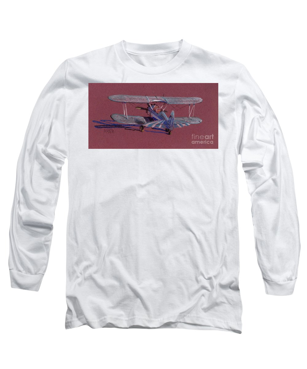 Steerman Biplane Long Sleeve T-Shirt featuring the drawing Steerman Biplane by Donald Maier