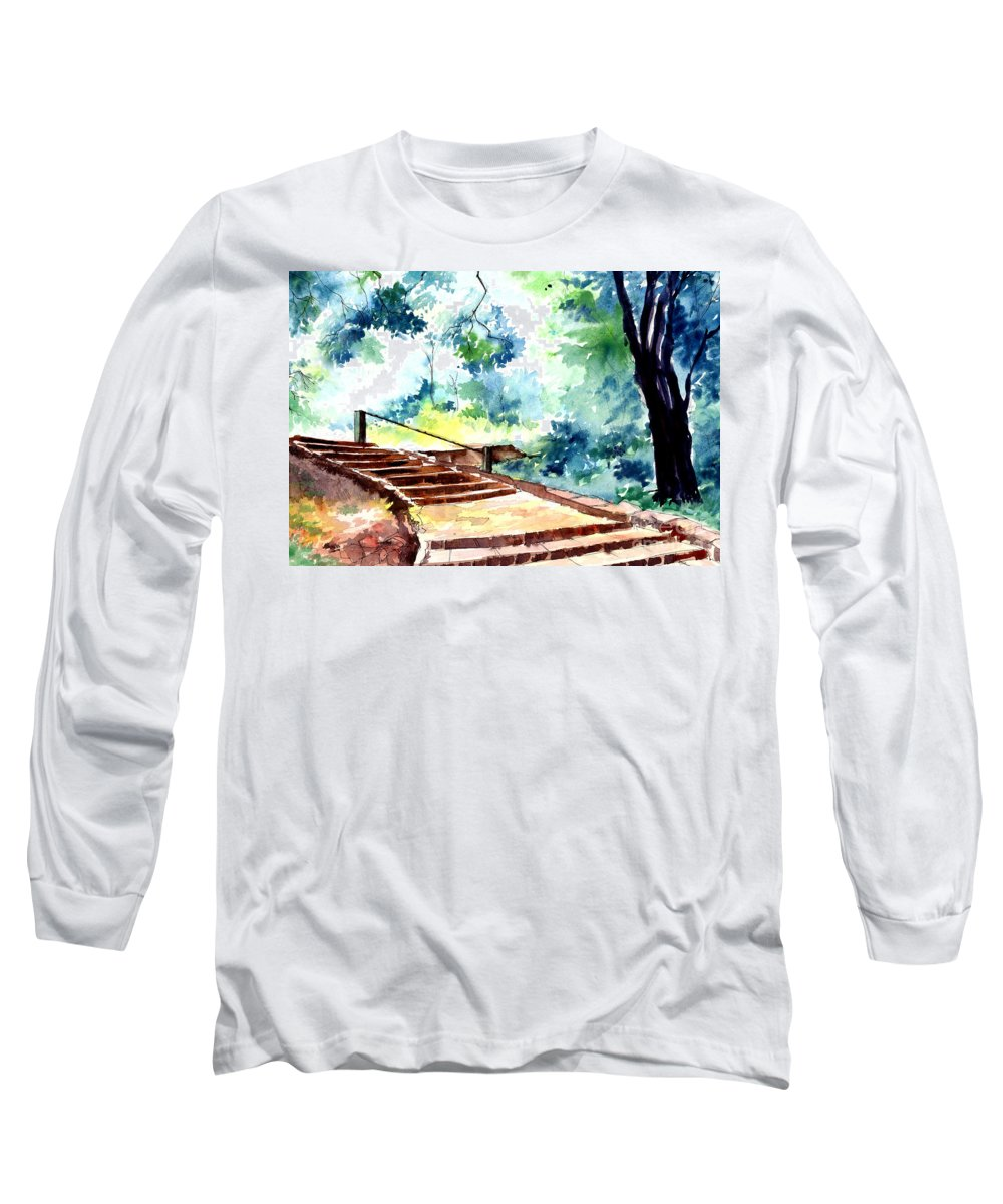 Landscape Long Sleeve T-Shirt featuring the painting Steps To Eternity by Anil Nene