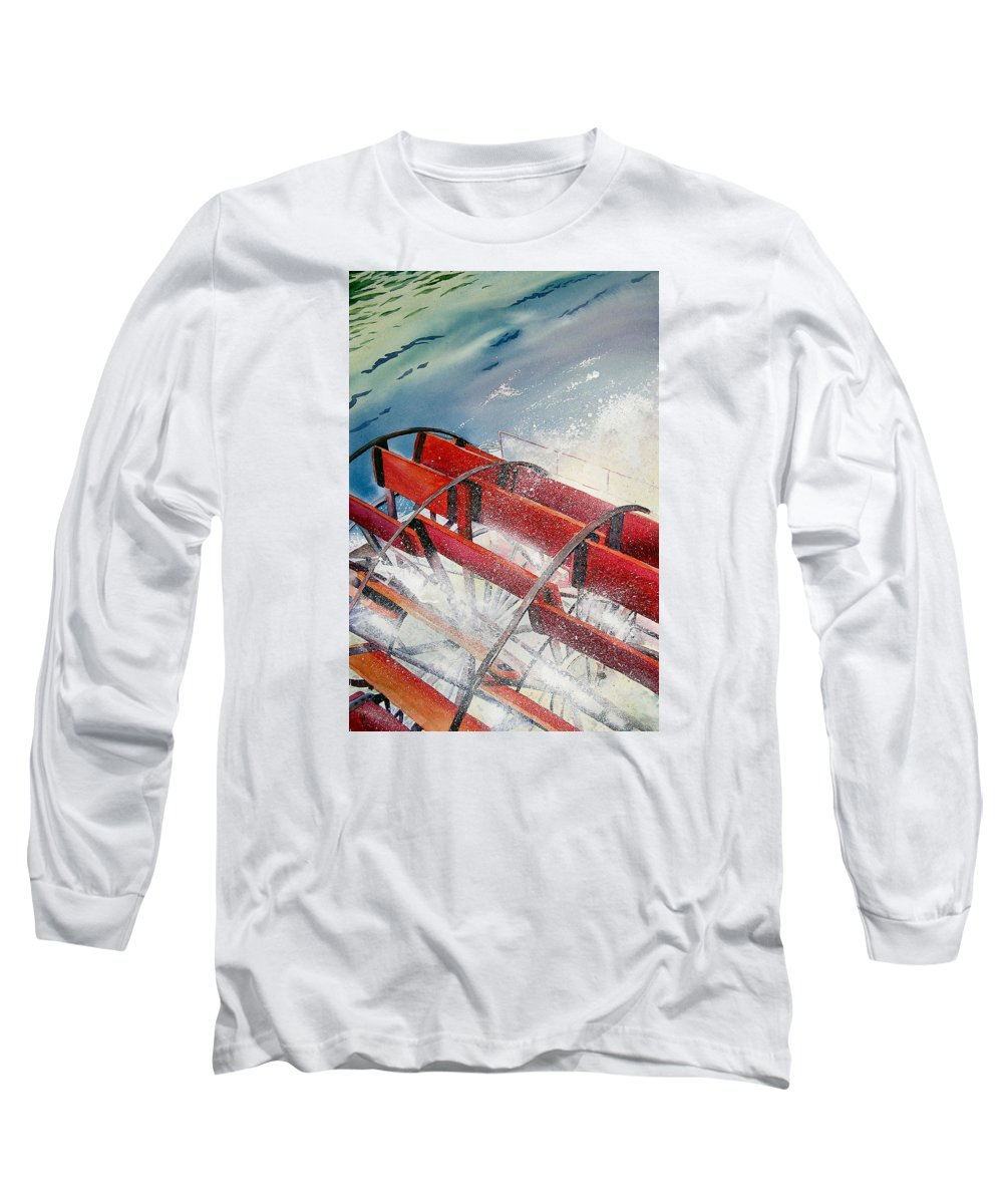 Paddlewheeler Long Sleeve T-Shirt featuring the painting Sternwheeler Splash by Karen Stark