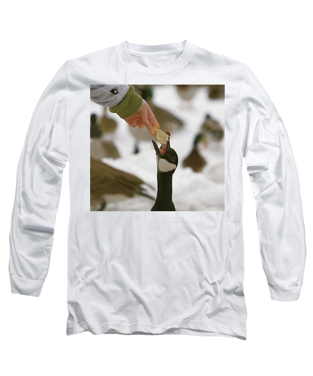 Birds Long Sleeve T-Shirt featuring the photograph Sticking My Neck Out by Robert Pearson