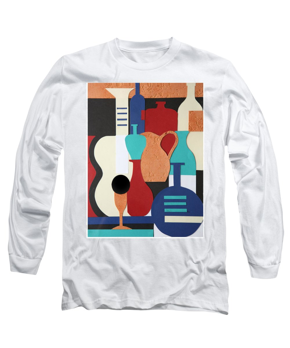 Still Life Long Sleeve T-Shirt featuring the mixed media Still Life Paper Collage Of Wine Glasses Bottles And Musical Instruments by Mal Bray