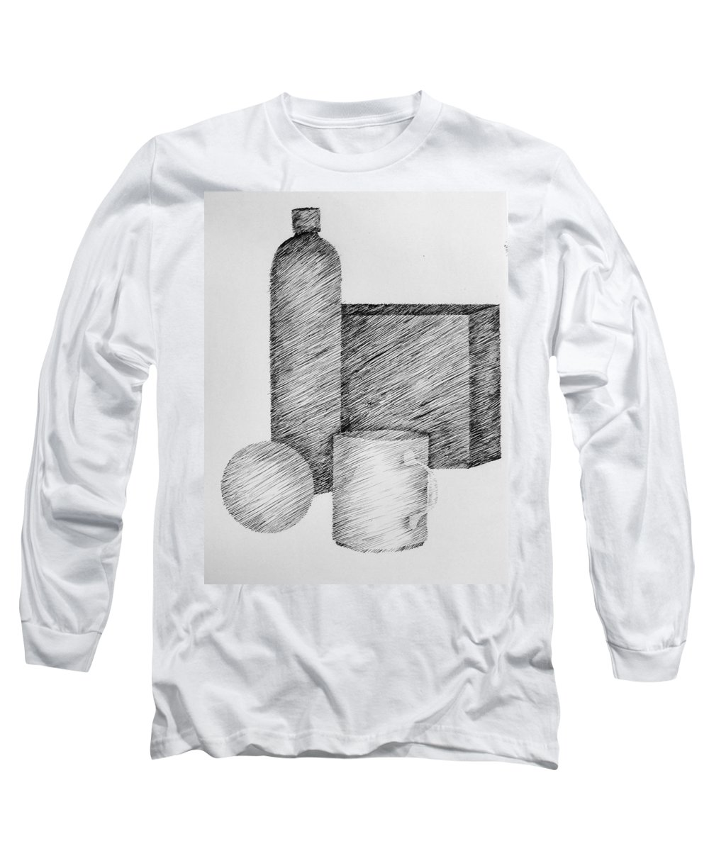Still Life Long Sleeve T-Shirt featuring the drawing Still Life With Cup Bottle And Shapes by Michelle Calkins