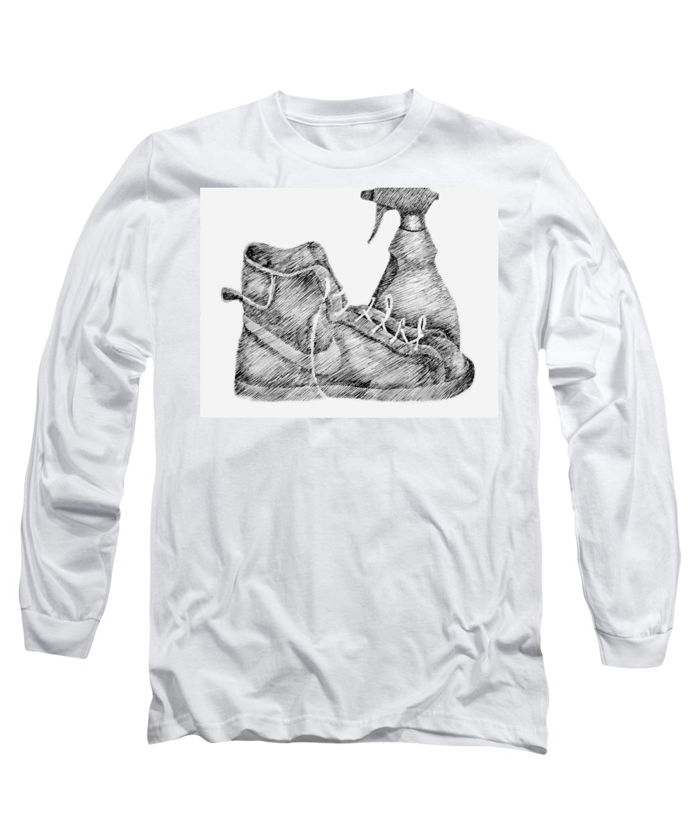 Pen Long Sleeve T-Shirt featuring the drawing Still Life With Shoe And Spray Bottle by Michelle Calkins