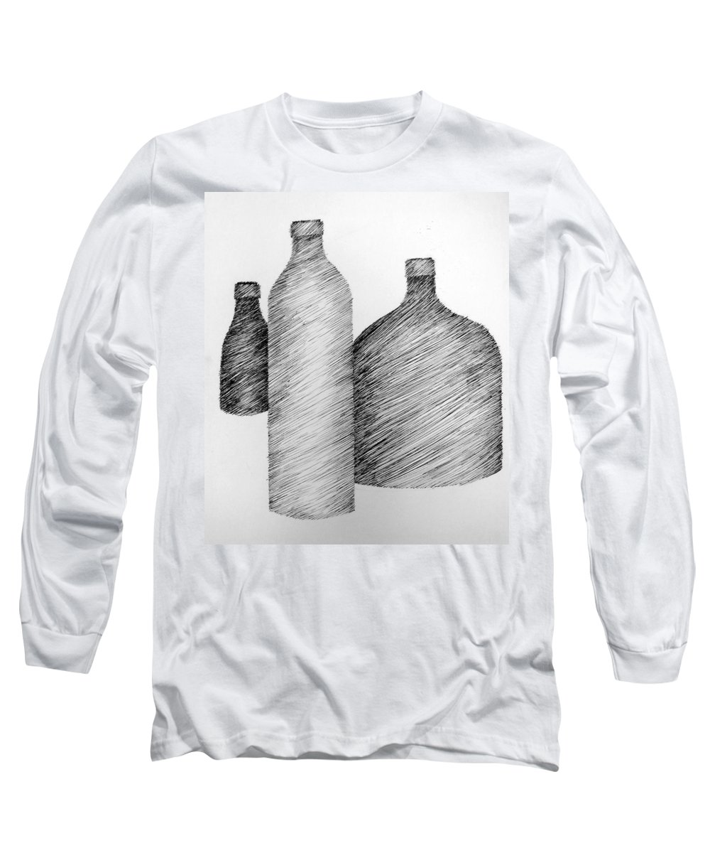 Still Life Long Sleeve T-Shirt featuring the drawing Still Life With Three Bottles by Michelle Calkins