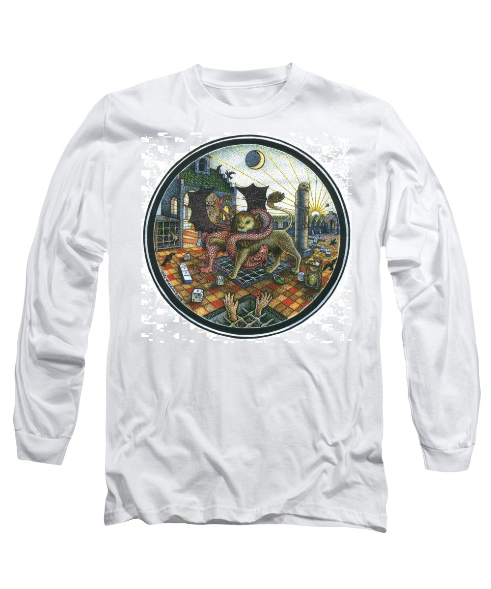Dragon Long Sleeve T-Shirt featuring the drawing Strange Reverie by Bill Perkins