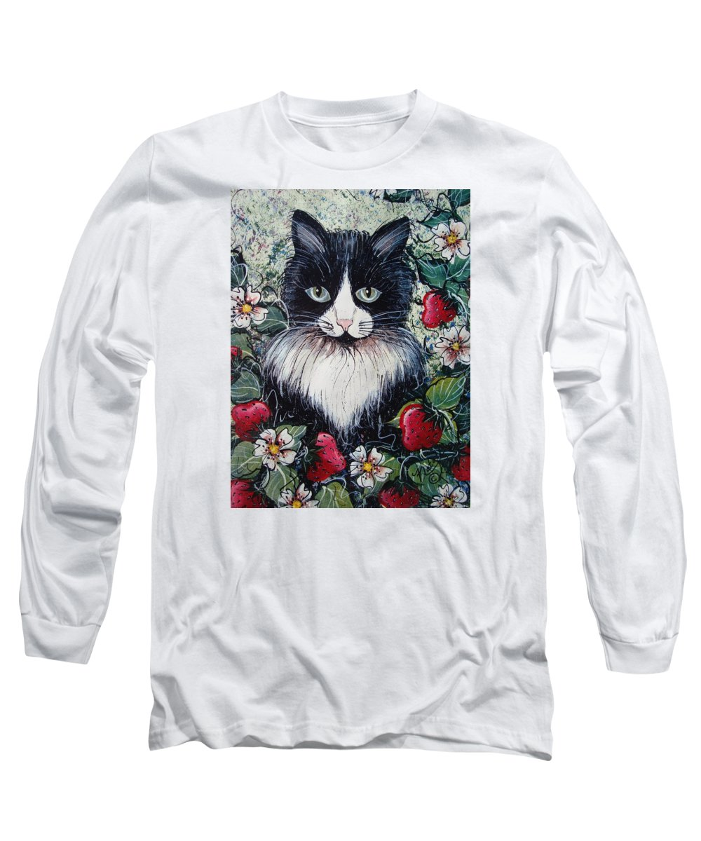Cat Long Sleeve T-Shirt featuring the painting Strawberry Lover Cat by Natalie Holland
