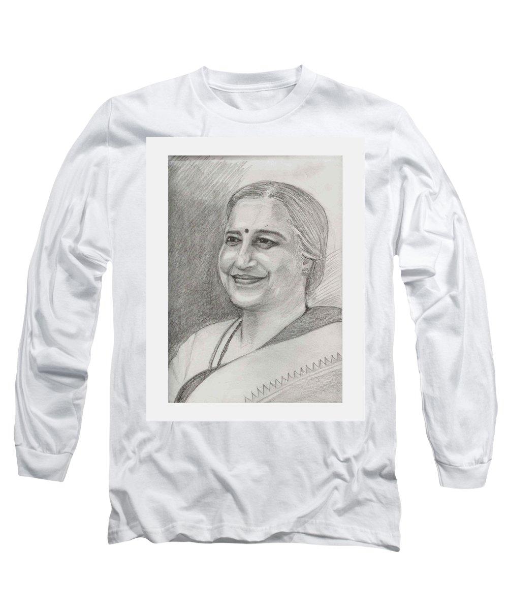 Sudha Narayanamurthy Long Sleeve T-Shirt featuring the drawing Sudha Murthy A Philanthropist by Asha Sudhaker Shenoy
