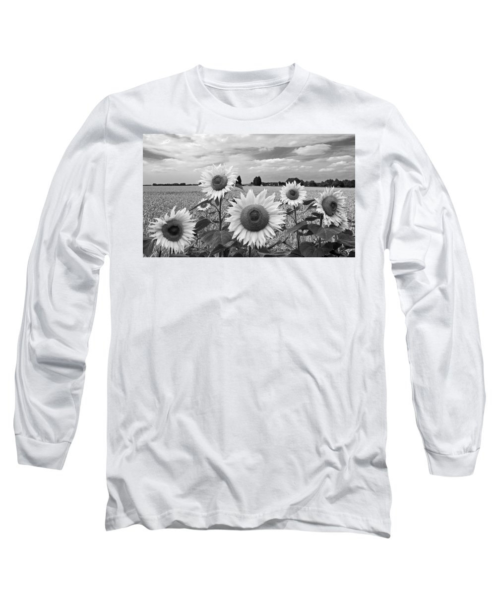 Black And White Sunflowers Long Sleeve T-Shirt featuring the photograph Sumertime On The Farm In Black And White by Gill Billington