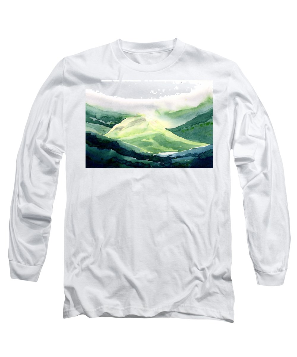 Landscape Long Sleeve T-Shirt featuring the painting Sunlit Mountain by Anil Nene