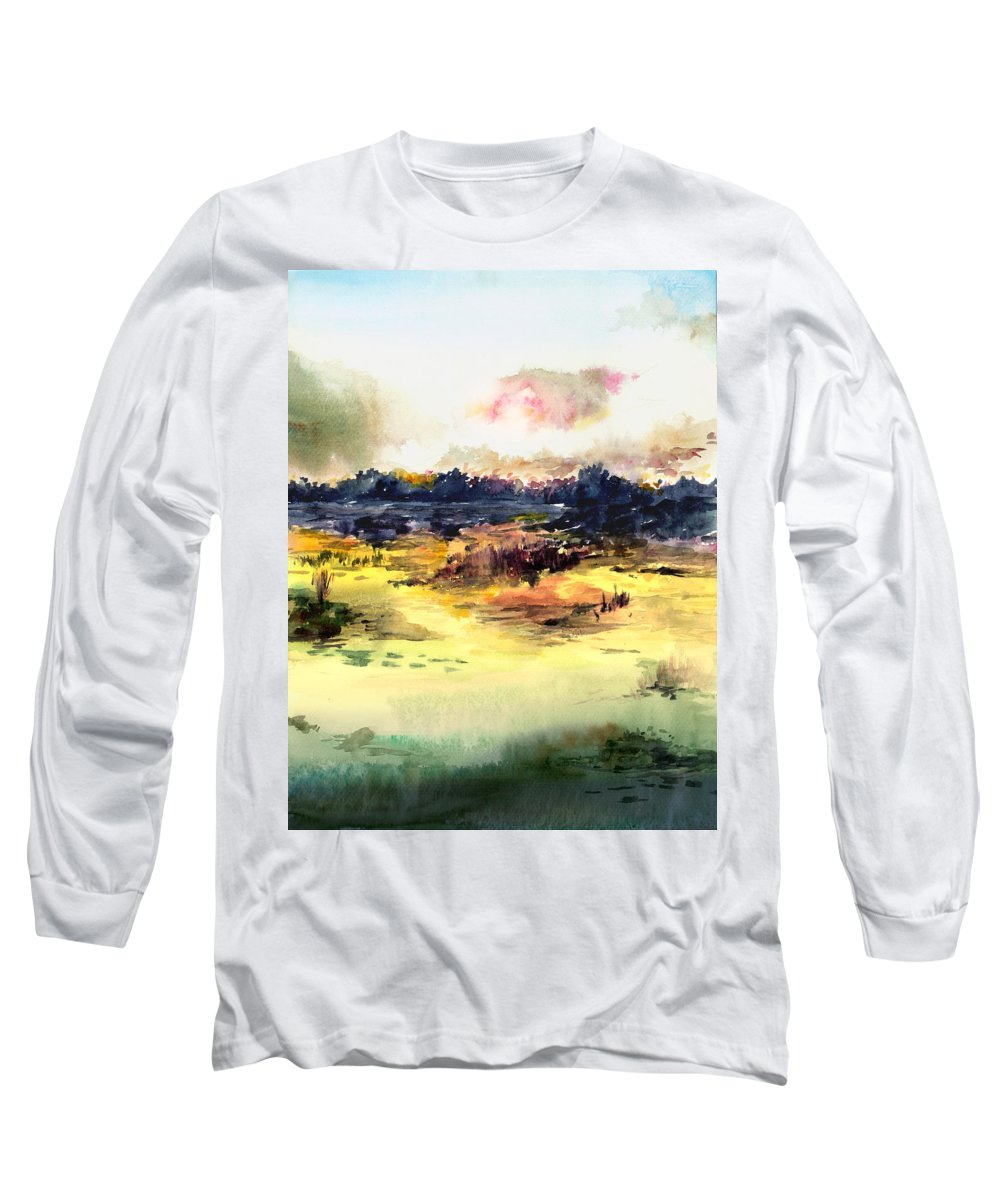 Landscape Water Color Sky Sunrise Water Watercolor Digital Mixed Media Long Sleeve T-Shirt featuring the painting Sunrise by Anil Nene