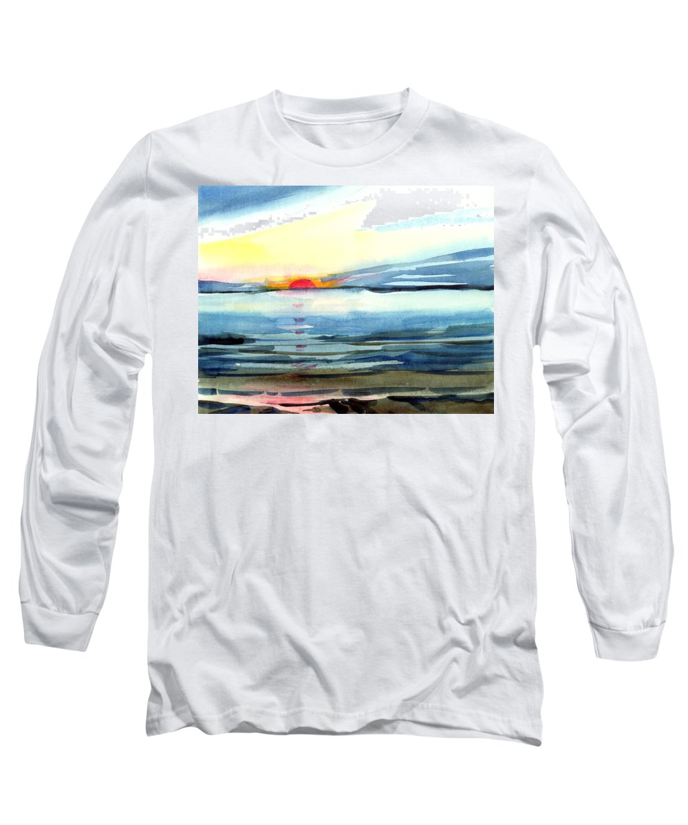 Landscape Seascape Ocean Water Watercolor Sunset Long Sleeve T-Shirt featuring the painting Sunset by Anil Nene