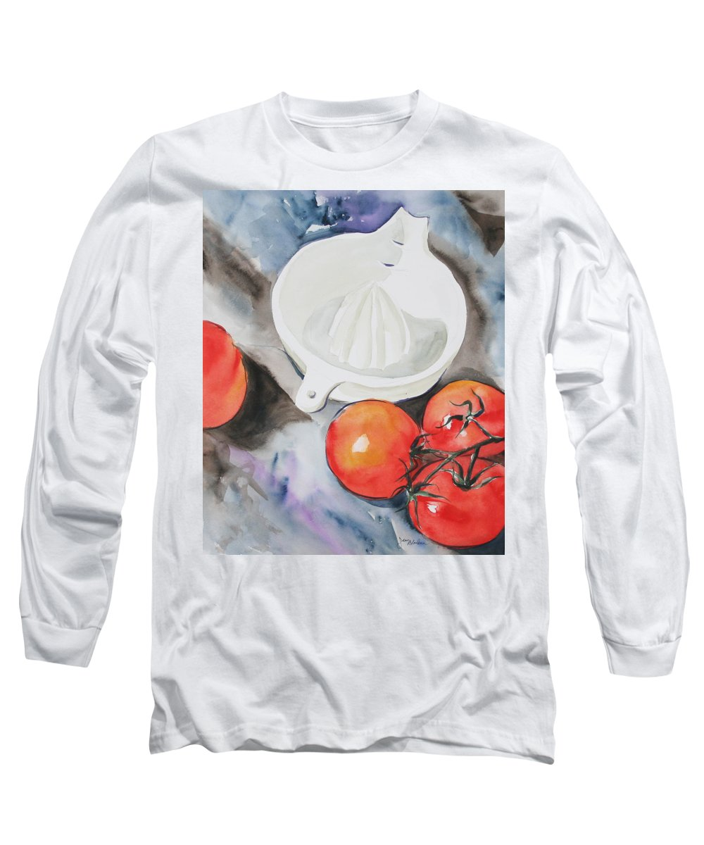 Tomatoes Long Sleeve T-Shirt featuring the painting Sunshine On The Vine by Jean Blackmer