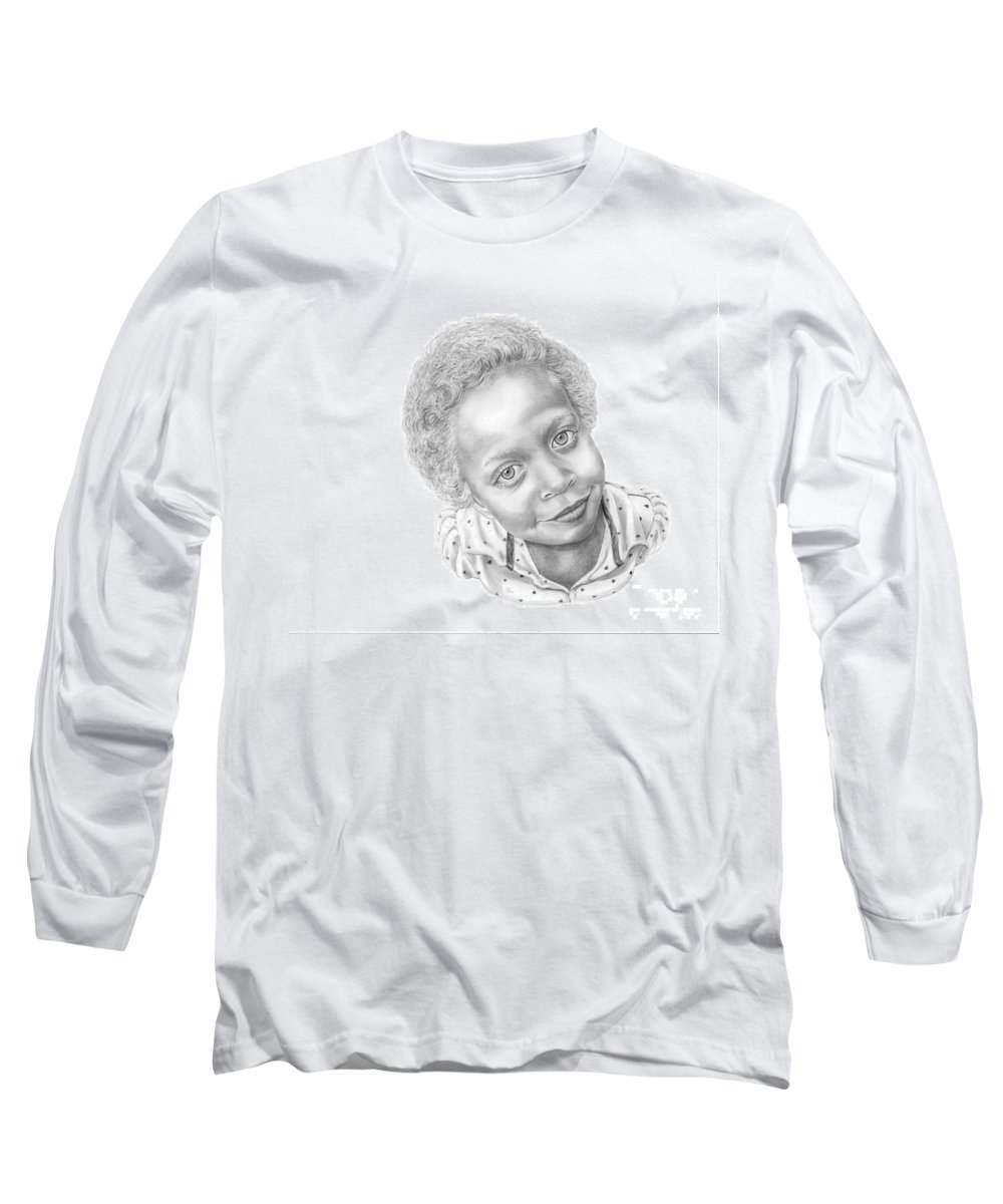 Portrait Long Sleeve T-Shirt featuring the drawing Sweet Eyes by Murphy Elliott