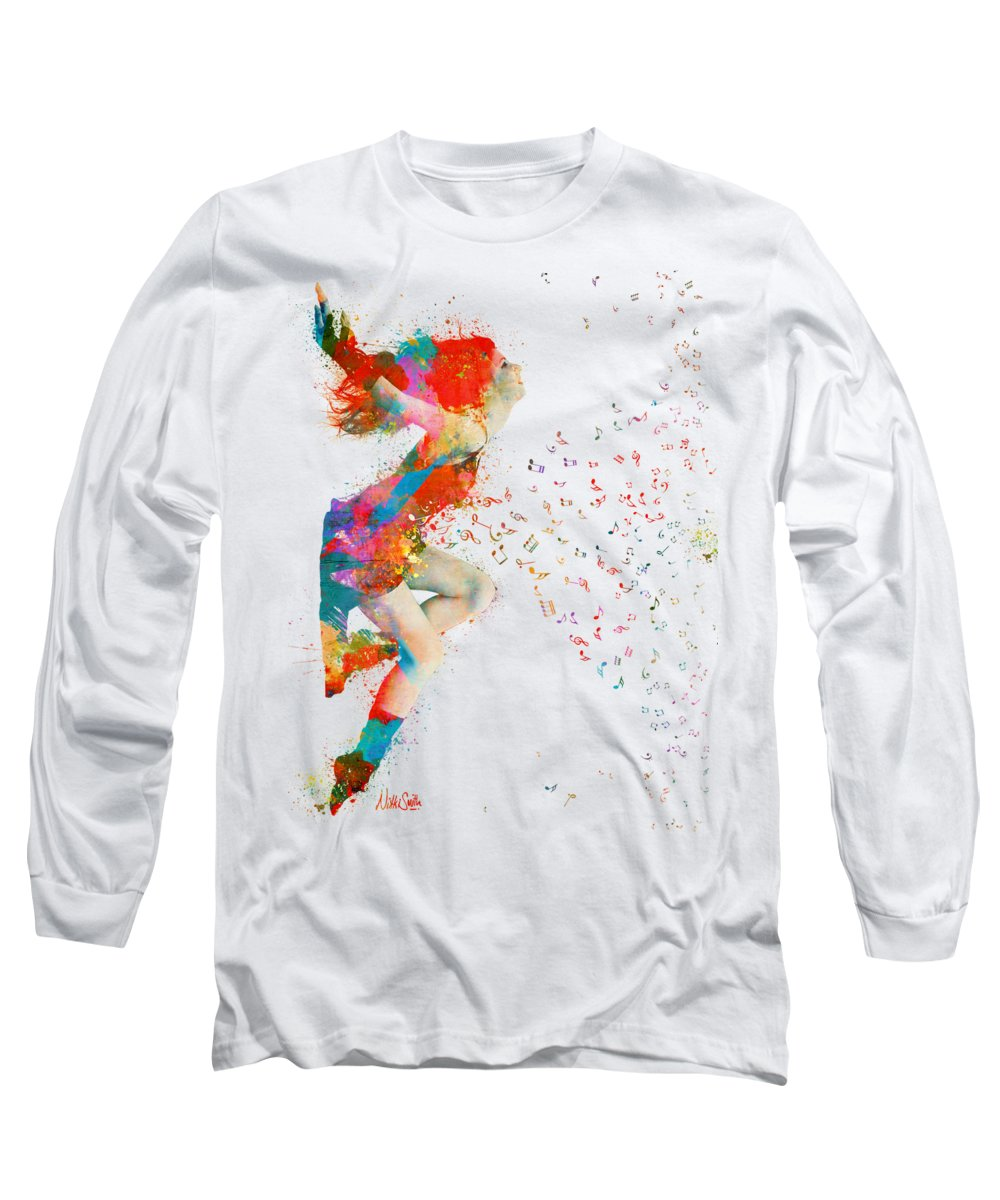 Song Long Sleeve T-Shirt featuring the digital art Sweet Jenny Bursting With Music by Nikki Smith