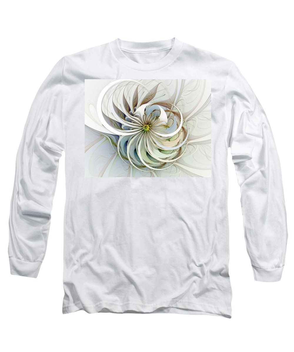 Digital Art Long Sleeve T-Shirt featuring the digital art Swirling Petals by Amanda Moore
