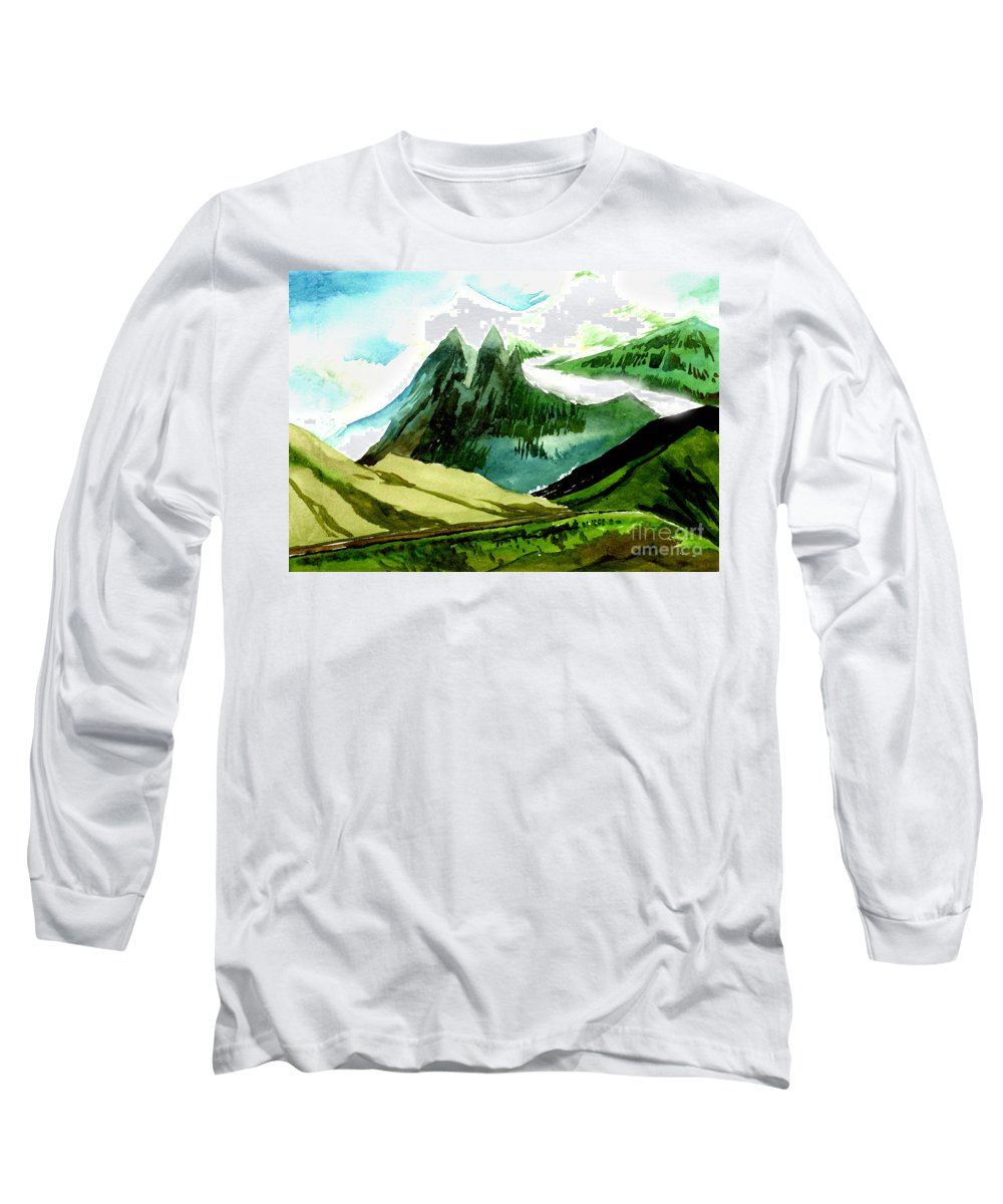 Landscape Long Sleeve T-Shirt featuring the painting Switzerland by Anil Nene